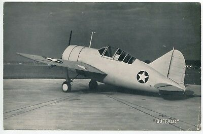 Brewster F2A Buffalo Airplane Vintage Military Aircraft Lithograph Print
