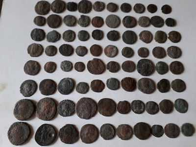 Lot Of 80 Ancient Bronze Roman Coins  Uncleaned Medium Quality