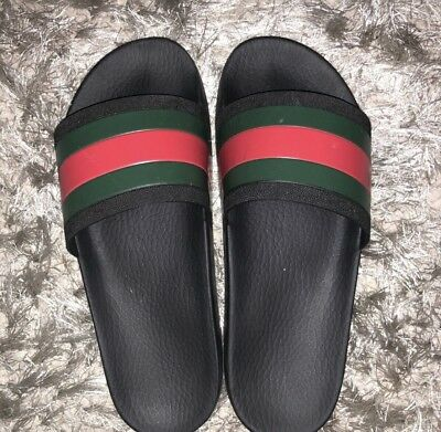 fe6a9cdfc GUCCI SLIDES PURSUIT 72 Rubber Slippers Web Stripe 100% Authentic ...