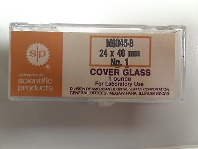 Scientific Products 24 x 40mm Size #1 Cover Glass for Microscopy, 1oz