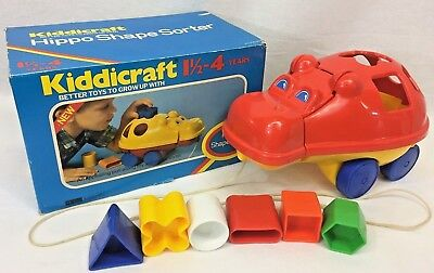 Kiddiecraft Hippo Shape Sorter Pull Along Color Educational Vintage 1982 w/ Box