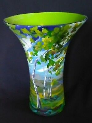 "Gorgeous Hand Painted Studio Art Glass Vase 11"" T"