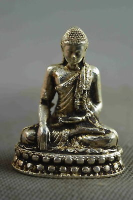 Collectable Handwork Decor Old Miao Silver Carve Sit Buddha Pray Delicate Statue