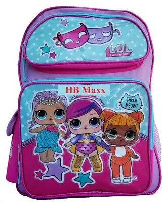 """Large 16/"""" inches School Backpack New Licensed Product LOL SURPRISE Tag Pink"""