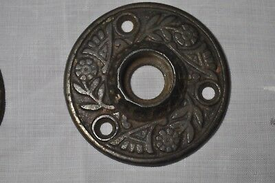 Pair Of Victorian East Lake Cast Iron Rosette Doorknob Back Plate   Antique