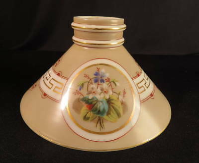 """186070's Early 'Violets' Decorated Double Knuckle 10"""" Kerosene Oil Slant Shade"""