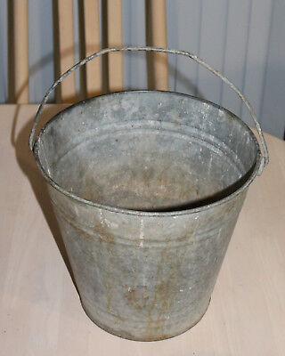 Antique Galvanised Metal Willow Bucket With Handle Planter Display Carry Water