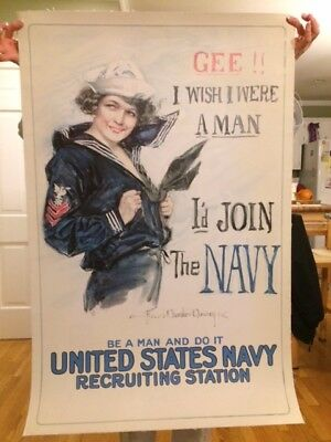 Original World War 1 Poster, GEE!! I WISH I WERE A MAN, Christy, c1918, On Linen