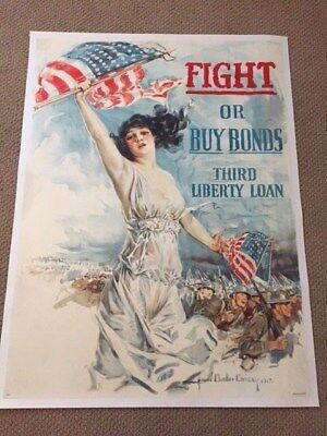 Original World War 1 Poster, FIGHT OR BUY BONDS, HC Christy, c1918, On linen