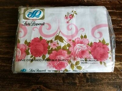 Vintage Lady Pepperell One Double Flat Sheet 100% Combed Cotton Shabby Chic NEW