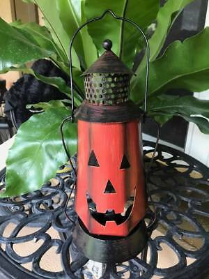 Metal Pumpkin Lantern Jack O Lantern Decoration Prop Halloween NEW