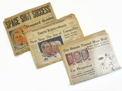 Vintage Newspapers 1969: Apollo 11, Freedom 7, Lunar Landing Mission, Set of 3