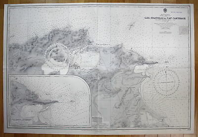 1936 Mediterranean Tunisia North Coast Les Fratelli to Cap Carthage Tunesien map