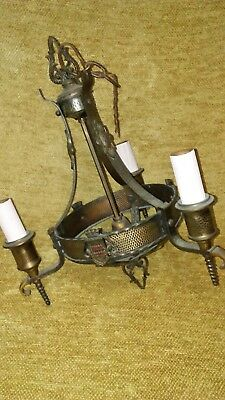 Antique Iron & brass Spanish Gothic Knight & Shield Chandelier Light Fixture