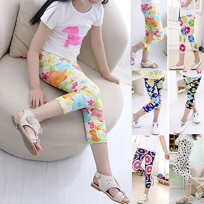 Kids Children Girl Cropped Trousers Stretchy Leggings Summer Pencil Pants