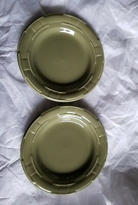 """LONGABERGER POTTERY WOVEN TRADITIONS 7 1/4"""" BREAD/Dessert PLATE Sage green"""