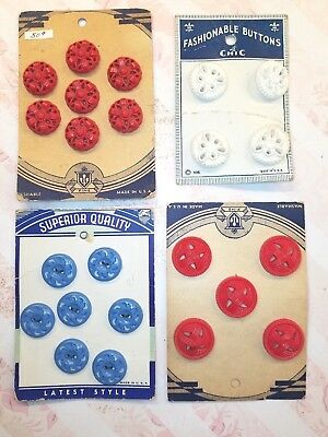 4 Original Cards Of Vintage Plastic, Pierced Buttons, Blue, Red, White