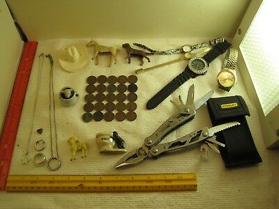 vintage junk drawer lot,jewelry,sterling,coins,watches,Stanley tool knife,penny