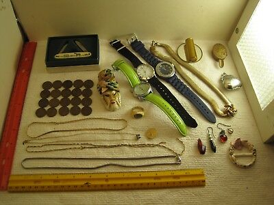 vintage junk drawer lot,jewelry,gold fill,coins,watches,Horse schrimshaw knife