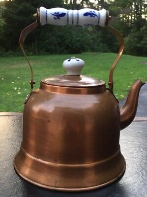 Vintage Kitchen Copper Tea Pot Kettle Whistle Spout White Blue Porcelain Handles
