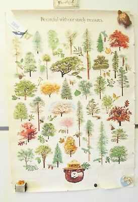 """Vintage Smokey The Bear Educational Poster State Trees 28.5"""" x 20 FREE SHIPPING"""