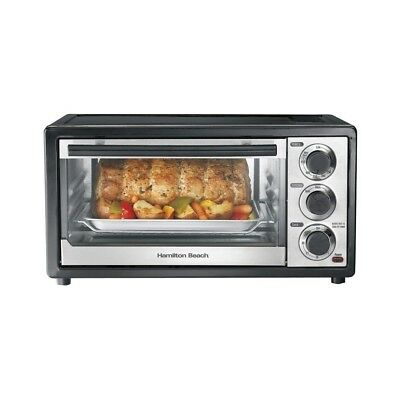 Chrome and Black Toaster Oven Stainless Steel Auto Shutoff By Hamilton Beach
