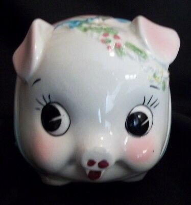 Vtg Pink Pig Piggy Bank Big Eyes Floral Wreath:THIS LIL' PIGGY WANTS TO GO HOME!