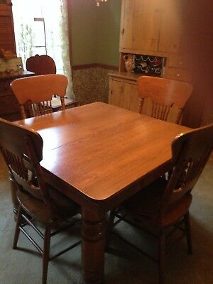 antique square dining room table 6 chairs 5 leaves