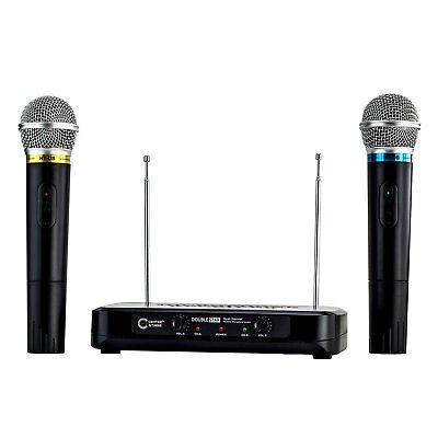 CenterStage DoubleStar Dual Handheld Wireless Microphone System- Easy Plug And P