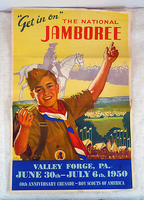 BSA The National Jamboree Valley Forge, P.A. Dated 1950 40th Anniversary Poster