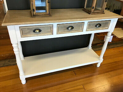 Sofa Table French Provincial White Sideboard 3 Drawer Hamptons Console 120cms