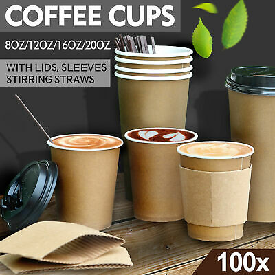 Disposable Double Wall Paper Coffee Cups Takeaway Bulk Hot/Cold Drink Tea Sleeve