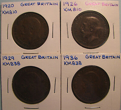 Great Britain Large Cents - Lot of Four Coins  (Item GBP-12-01)