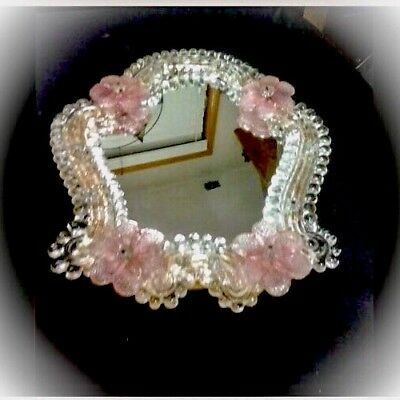 Vintage Small Italian Venetian Murano Glass Mirror With Pink Flowers