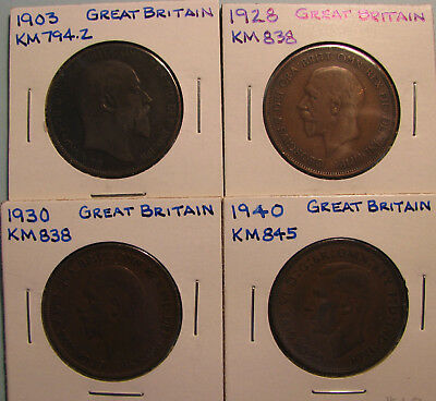 Great Britain Large Cents - Lot of Four Coins  (Item GBP-12-03)