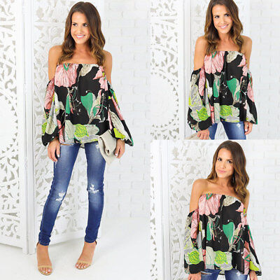 AU Womens Casual Off Shoulder Blouse Top Long Sleeve Floral Loose Tops T Shirt