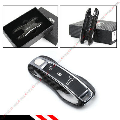 Real Carbon Fiber Replacement Key Fob Remote Case Cover For 2017-19 Porsche 971