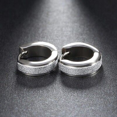 13mm Unique Silver 316L Titanium Stainless Steel Mens Women unisex Hoops Earring