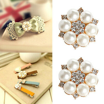 Crystal Rhinestone Pearl Flower Plate Buttons Flatback DIY Craft Embellishment