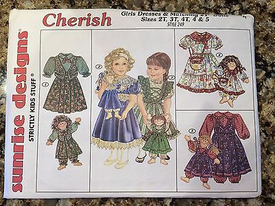 "Sunrise Designs Girls Cherish Dresses Matching 14""-21"" Doll Dress Girls Sz 2T-5"