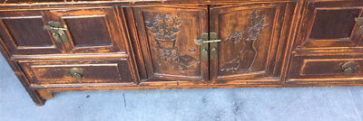 Original 1870 Antique Chinese Wood Hand Carved  Low Altar Cabinet