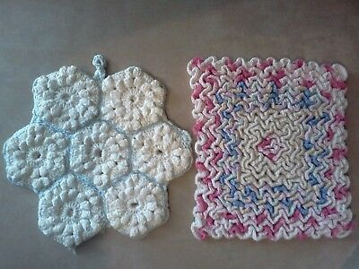 2 Vintage Crocheted Hot Pads Pot holders Hand made Doilies
