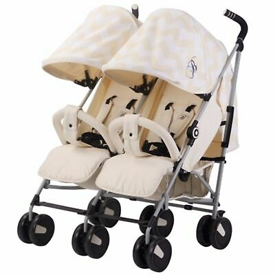 My Babiie MB22 Twin / Double From Birth Baby Folding Stroller - Cream Chevron