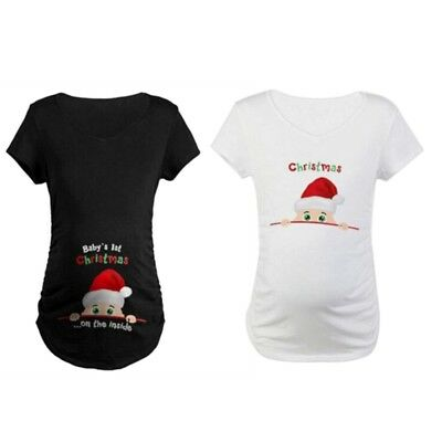 Christmas Maternity Baby Peeking T-shirt Pregnant Women Maternity Top Funny Gift