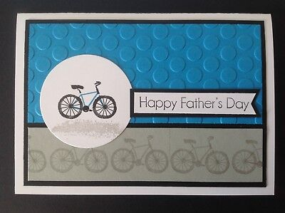 Handmade Father's Day card: cycling blue