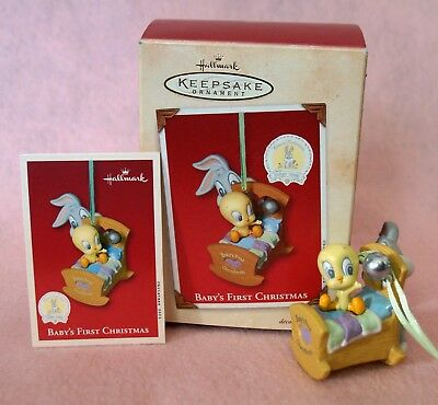 Vintage 2002 Looney Tunes Baby's First Xmas Porcelain Hallmark Keepsake Ornament
