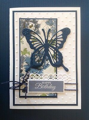Handmade Birthday card: Beautiful butterfly - navy floral.