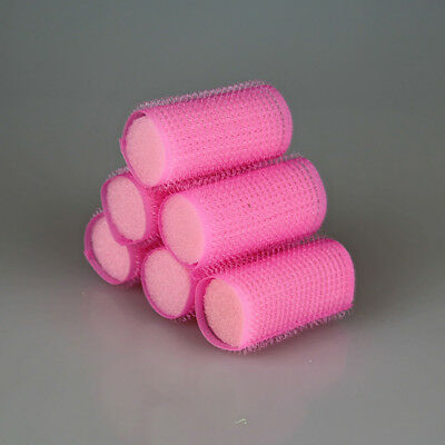 Fashion 6PCS Cling Roller Sponge Sleep In Foam Hair Tools Design Useful Pink