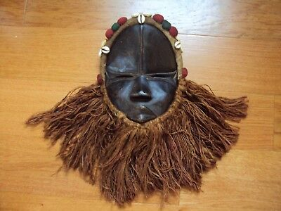 WAS $289 DAN HEADDRESS Mask African Carving Cowrie Raffia Packets UNIQUE DESIGN!