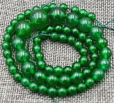 """Exquisite Green Jade Gems Jewelry Loose beads 17"""" 6-14mm"""